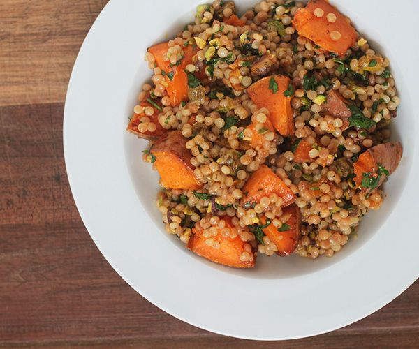 pearl couscous with sweet potatoes, pistachios, and herbs ...
