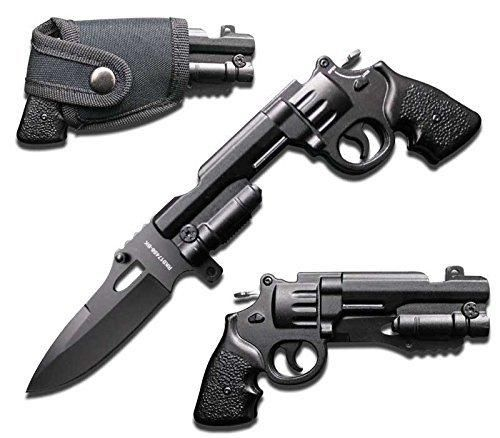 Rogue River Tactical Gun Pistol Revolver 44 Mag Pocket Knife Spring Assisted Opening Folding Black with Holster 440 Blade
