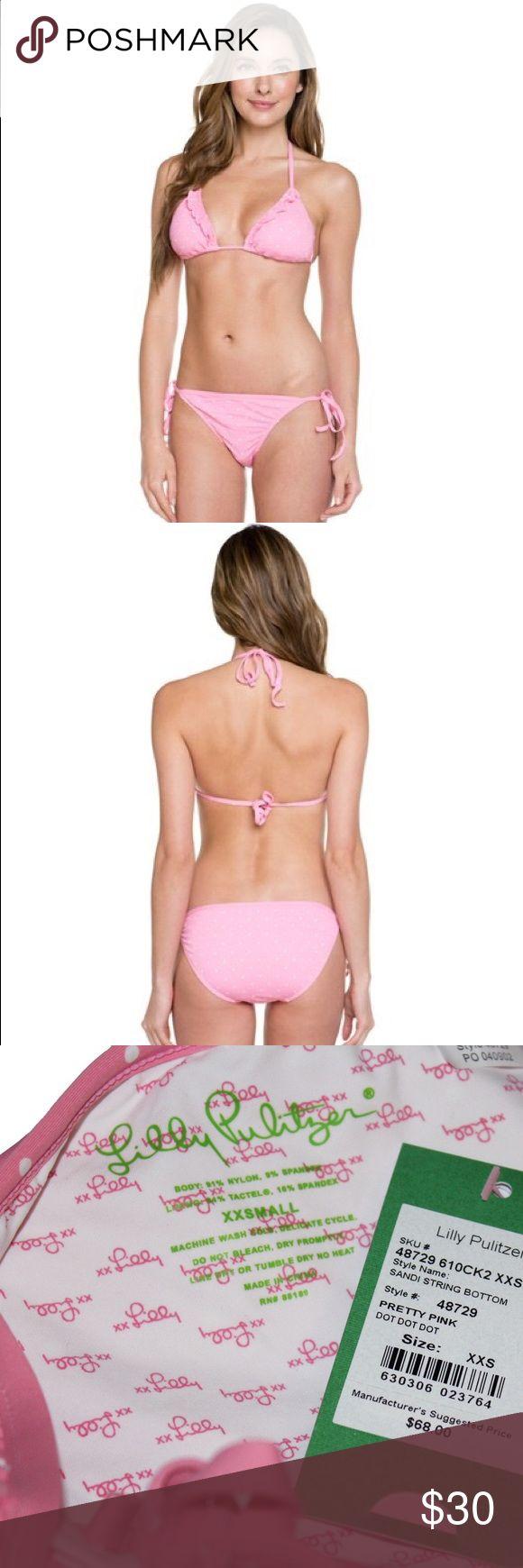 """Lilly Pulitzer """"Sandi"""" String Bikini Bottom Lilly Pulitzer """"Sandi"""" Pretty Pink Dot String Bikini Bottom. Polka Dot Bikini Bottom with Tie Sides. Size XXS = Size 00. Lilly Pulitzer Swim Bikinis"""