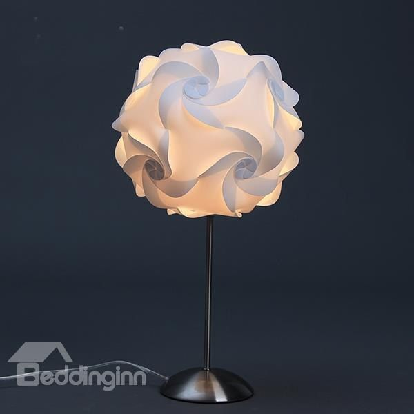 Beautiful Round White Flower Shape Table Lamp