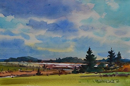 Christopher Gorey - PEI Clouds- Watercolor - Painting entry - March 2016 | BoldBrush Painting Competition