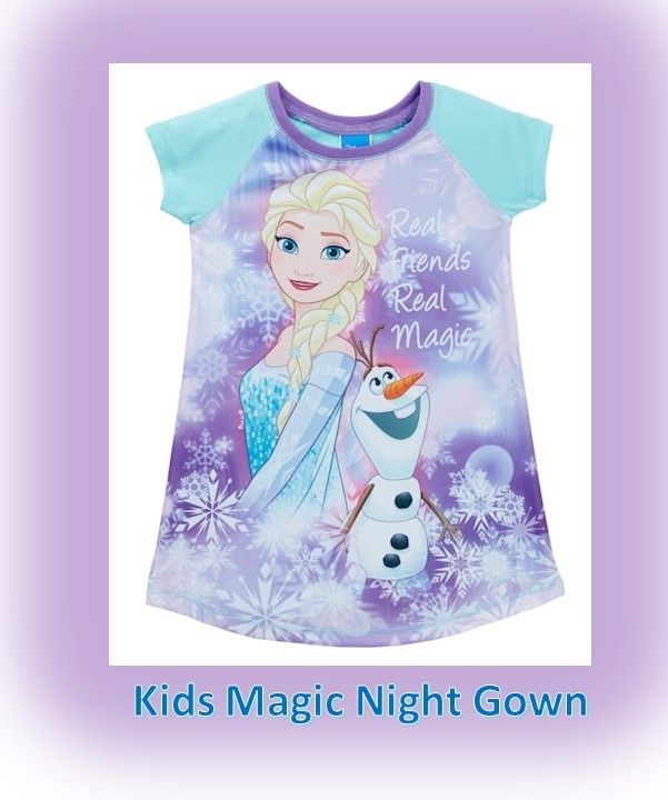 Frozen Anna Olaf Magic Night Gown Short Sleeve Friends Bed Time Story Pajama  #ad #sleepwear