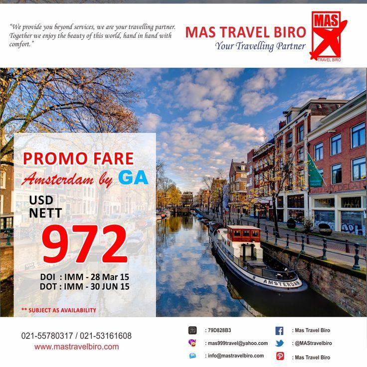8 hari lagi Promo Garuda Indonesia selesai! Yuk Booking buat teman teman travelers yang sedang mencari tiket hemat ke Amsterdam. Info : 021-55780317 / 021-53161608
