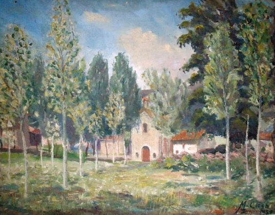 Landscape with the hermitage La Salut of Olot, signed by M. Closa, from the Fifties of the last 20th century. Belonging to the School of Olot. . Oil on table, without frame. Measurments 65x50 cm.
