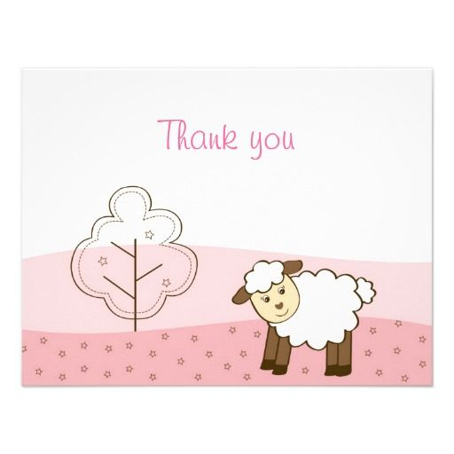 Pink Little Lamb Thank You Note Cards Personalized Invites