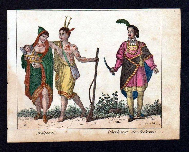 ca. 1830 - Iriquois indians North America Indians Irokesen Lithographie Litho | eBay