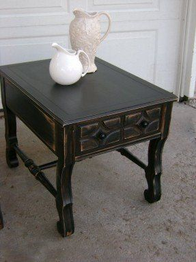 Pair of Black Distressed End Tables