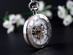 Wedding Gift Silver Pocket Watch Skeleton Mechanical Pocketwatch with – PocketWatchKeepsakes