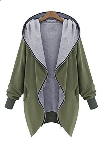 MEYKISS Women's Plus Size Casual Hooded Jacket Parka US L Army Green  Go to the website to read more description.