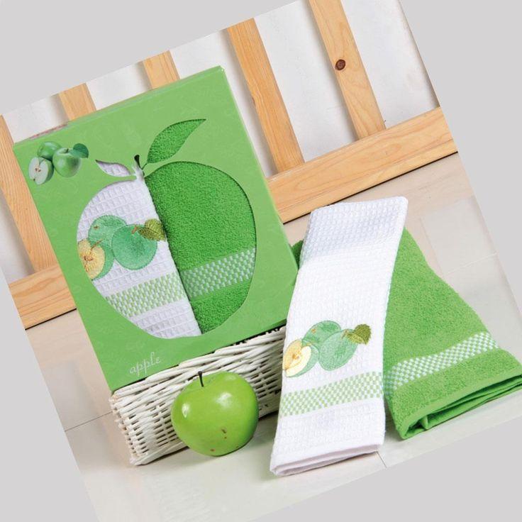 Πετσέτες Κουζίνας Σετ (2 Τμχ) Green Apple