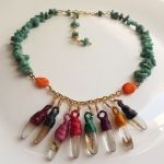 Coral and amazonite Silky spool necklace