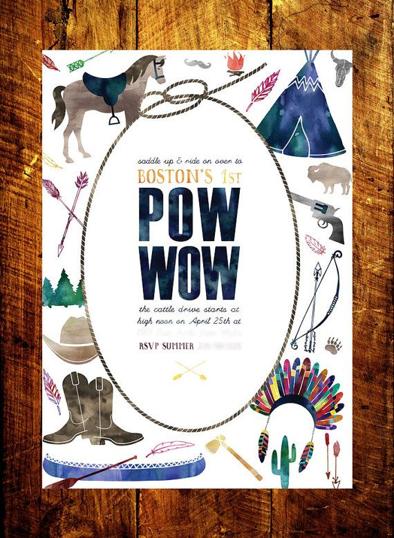 Cowboy & Indian Birthday Invitation by SmittenKittenPaperie