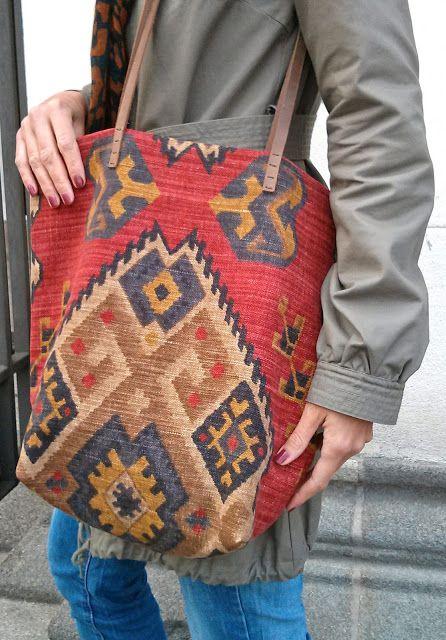 DIY Kelim Tasche mit Leder-Henkeln
