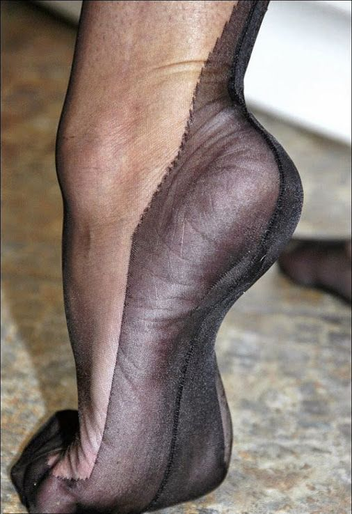 Lick silk stockings high heeled one