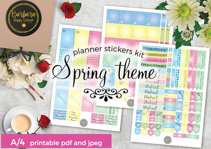 Spring Stickers Kit - Printable planner stickers - Weekly stickers - Spring Decorations - Spring stickers di BarbaraHappyDesign su Etsy