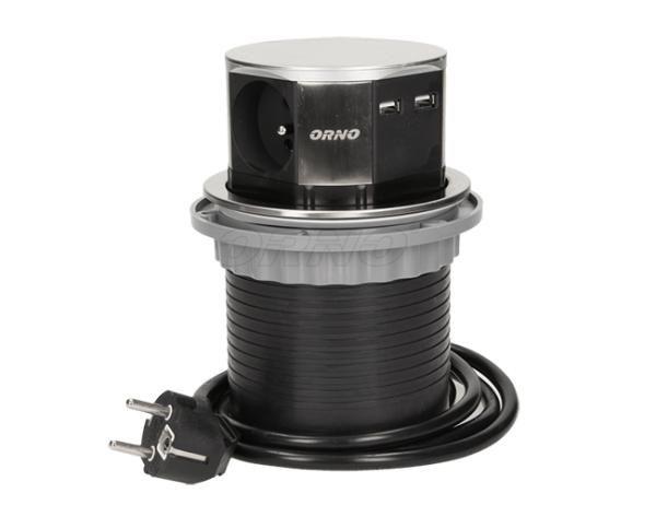 Specializovaný obchod DSTechnik.cz nabízí Nerezový, výsuvný, zásuvkový sloupek - 3x zásuvka 230V, 2x zásuvka 5V USB, nap. kabel 1,5m ORNO AE 1381 INOX nábytkový tří-zásuvkový sloupek s 2x USB a kabelem. Nerezové provedení vrchního viditelného dílu, velmi pěkný design, propojovací napájecí kabel s vidlicí do zásuvky 230V, délka 1,5m. Vestavěné 2 USB zásuvky 5V, 2,1A.