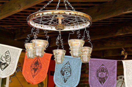 Barb Brashier's chandelier/bird feeder with salvaged items