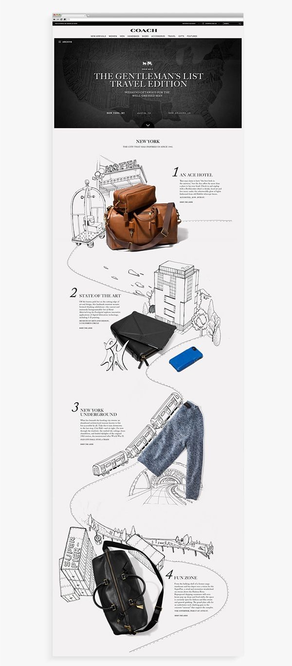 Creative Direction, concept/idea and photo art direction for Coach's Gentlemen's list.Issues are updated montlhy featuring new themes and styles around Coach Mens.