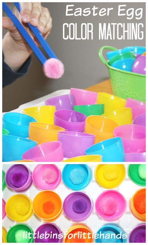 Easter Fine Motor Color Matching Activity. Great color matching and fine motor center to set up for this holiday season. Read more at: http://littlebinsforlittlehands.com/easter-fine-motor-activities-fine-motor-fridays/