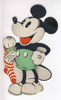 Vintage Christmas Card ~ Walt Disney Mickey Mouse Hallmark Greeting Card ©1937