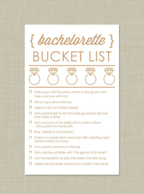 Bridal Shower Checklist Printable Bachelorette Scavenger Hunt