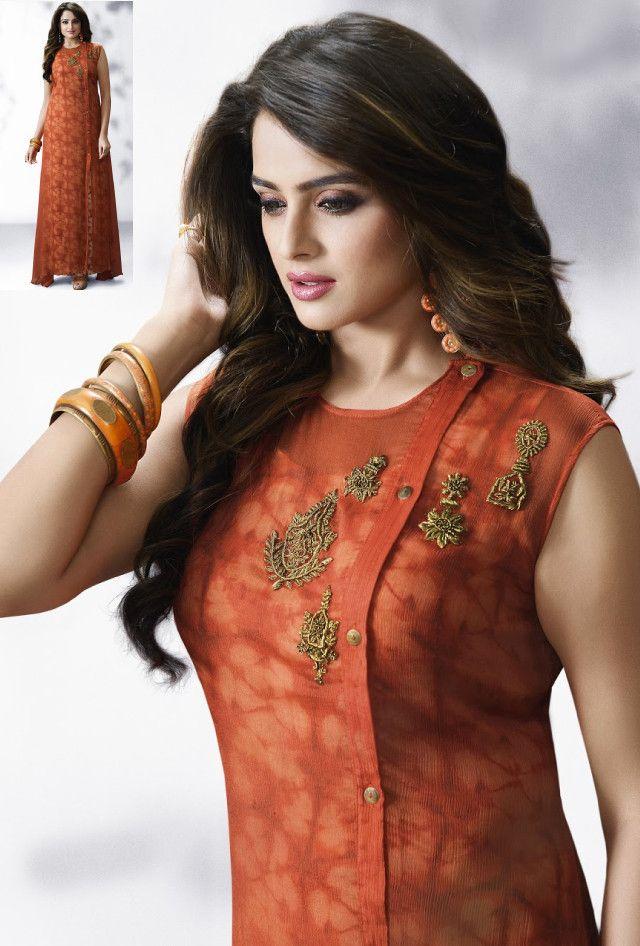 Brown designer dress