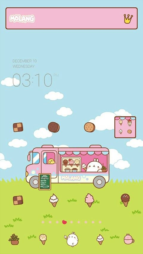 Super cute pink ice cream theme for line launcher on android