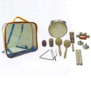 Kit instrumentos de ritmo - MedianoKit de instrumentos de percusión. Perfecto por su presentación y por recopilar distintos intrumentos y sonidos. Perfectos para disfrutar solo o o en grupo. Incluye 9  instrumentos: pandereta de 15 cm, par de maracas, maraca huevo, par de claves. cilindro, muñequera, cascabeles ,sambina paleta, par de crótalos y triángulo. En: http://montessoriparatodos.es/es/musica/298-kit-instrumentos-de-ritmo.html