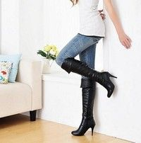 Wish | 2015 Fashion women high heels knee boots leather brand designer sexy boots