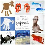 Polar and Winter Animal Crafts made with handprint & footprints