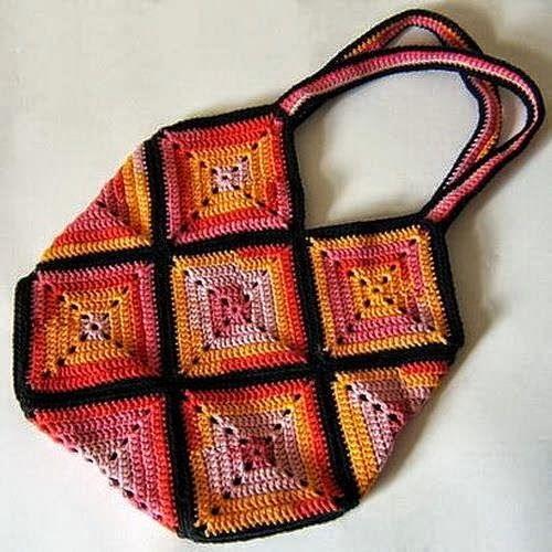 Horgolás minták: Színes táskák