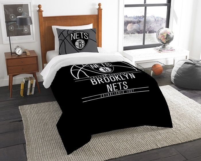 Brooklyn Nets NBA Reverse Slam Twin Comforter and Sham Set. Includes 1 Sham and 1 Twin Comforter. Visit SportsFansPlus.com for Details.