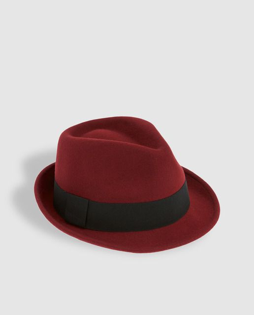 Sombrero borsalino de lana roja con cinta