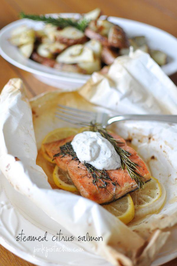 Steamed Citrus Salmon #Dinner #Spring #Recipes