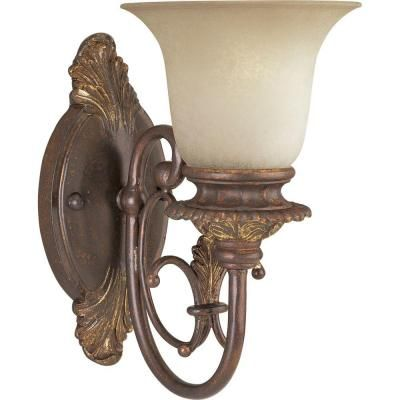 Thomasville Lighting Messina Collection Aged Mahogany 1-light Wall Sconce-P2704-75 at The Home Depot