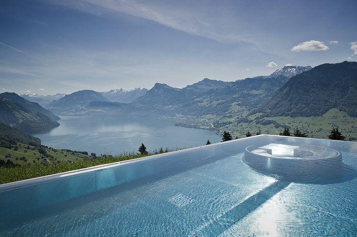 Lake Lucerne view from the pool of Hotel Villa Honegg in Ennetbürgen, Switzerland (by www.villa-honegg.ch).