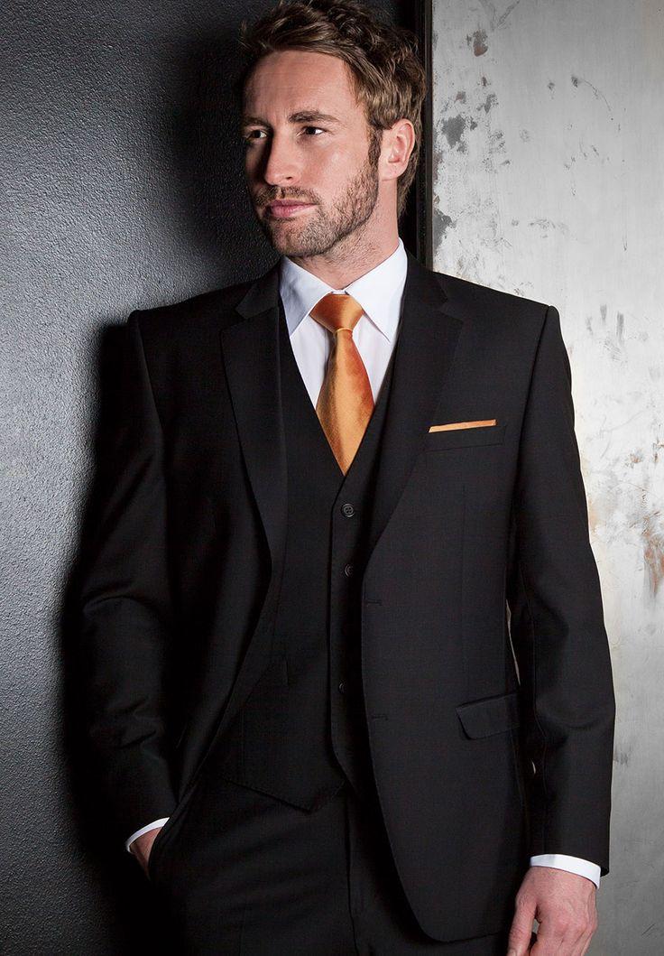 black three piece tailored fit suit with burnt orange tie