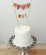 Love the leaf cutouts in pretty colors! Such a sweet cake banner...just make sure to stagger it with the lit candle!!