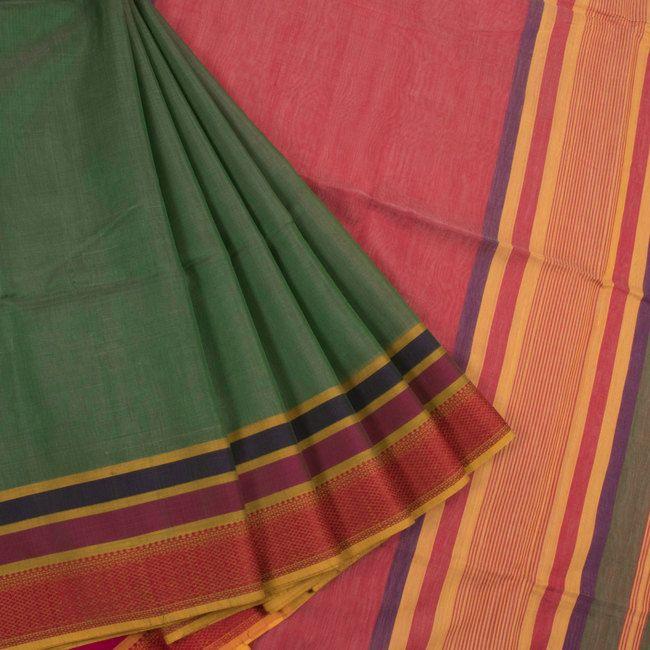 Buy online Handwoven Green Maheshwari Silk Cotton Saree With Multicolour Border 10013210