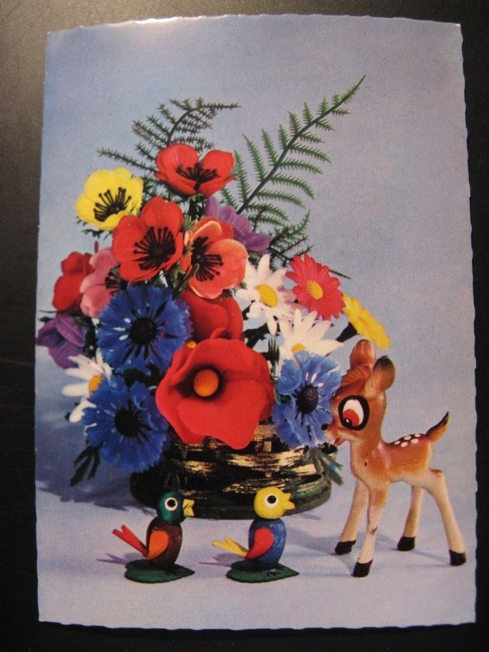 1966...Vintage Old Postcard Walt Disney: Bambi with flowers...