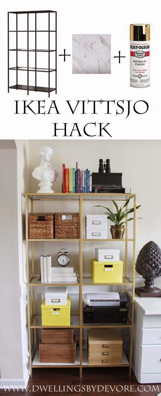IKEA VITTSJO hack using gold spray paint and contact paper that looks like real marble