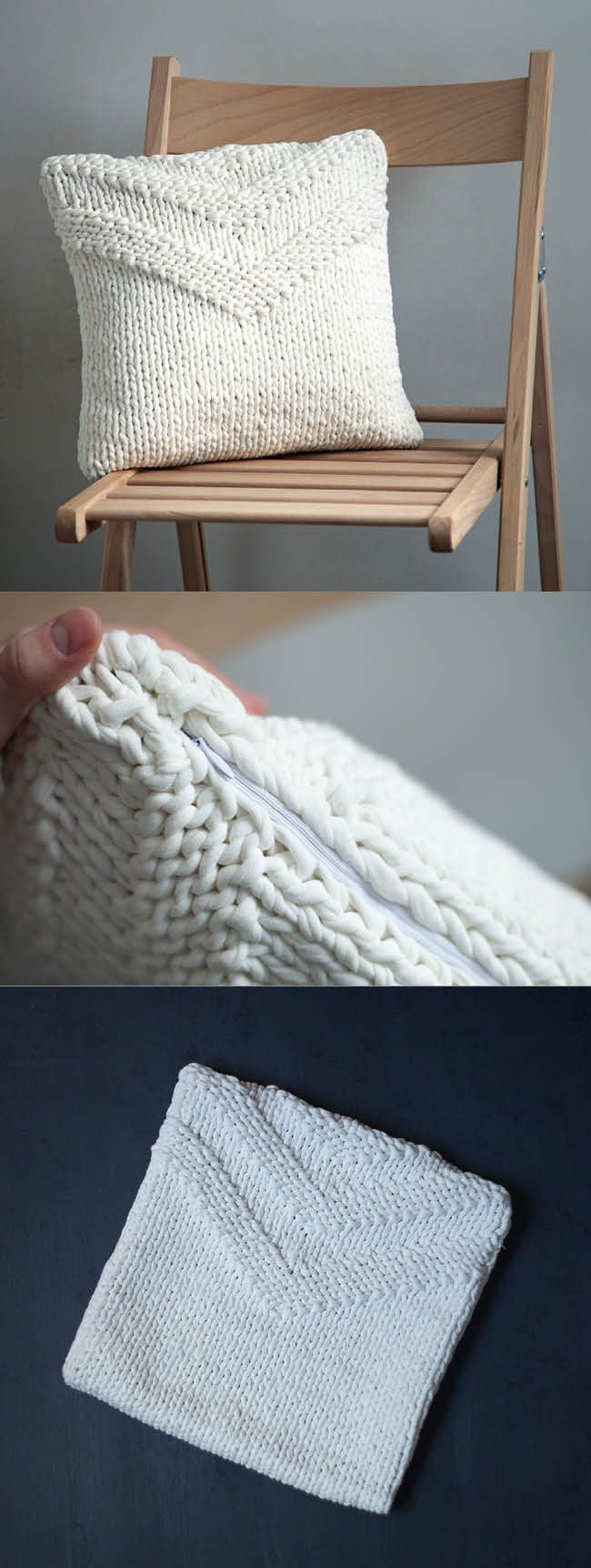 White Knitted pillow cover for standard IKEA pillows - Milky decorative pillow case from the cotton yarn.