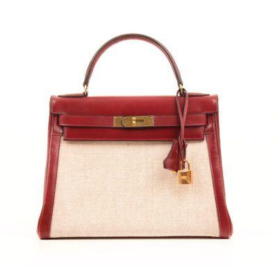 Hermès Kelly 28 Box Calf and Toile Burgundy  | CBL Bags