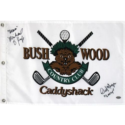 Cindy Morgan & Michael O'Keefe Dual-signed CaddyShack Golf Flag Steiner
