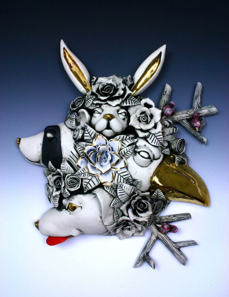 Title: Cluster: Raccoon On The Rise Artist: Taylor Robenalt Date: 2015 Technique: handbuilding Temperature: cone 6 Glazing / Surface Treatment: sanding Material: porcelain Height: 16   Width: 17   Depth: 6 Credit Line: Taylor Robenalt