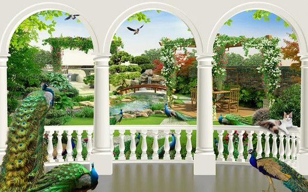Fantasy 3d Peacock Bird Palace Back Garden Tv Background Wall Modern Living Room Wallpapers A Wall Modern Wallpaper Living Room Room Wallpaper Porch Wall Decor