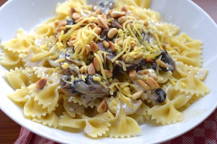 5 or less: Pasta met crème fraîche en champignons