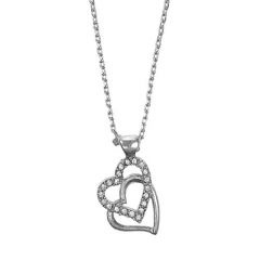 Pilgrim Classics Silver Plated Double Heart Drop Pendant Necklace £25