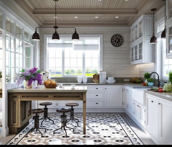 Stunning Kitchen With Encaustic Cement Tile Detail