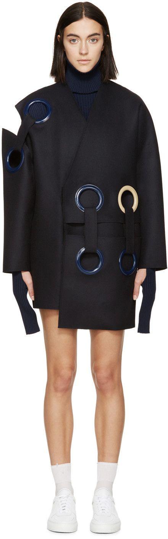 Jacquemus - Navy Wool Eyelet Coat
